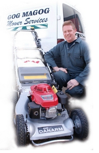 Dave with a lawnmower